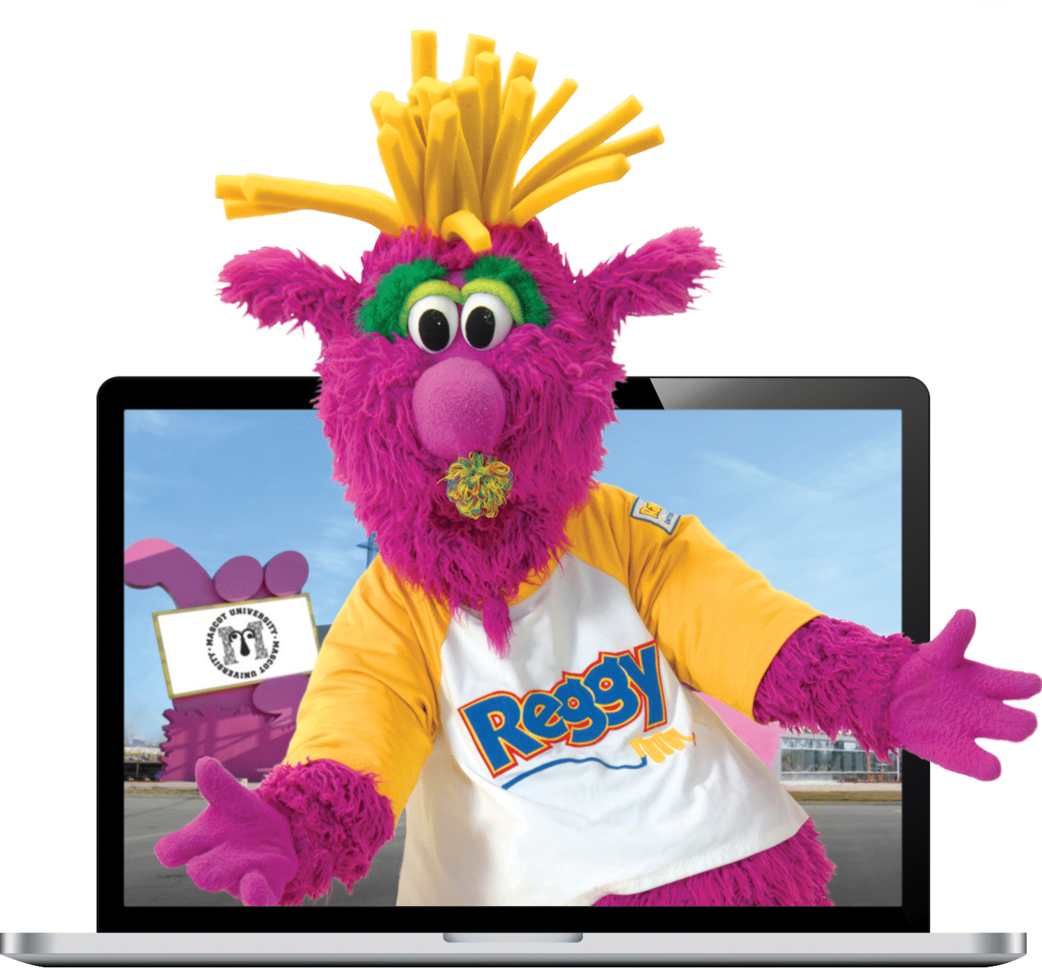 Reggy in a laptop computer